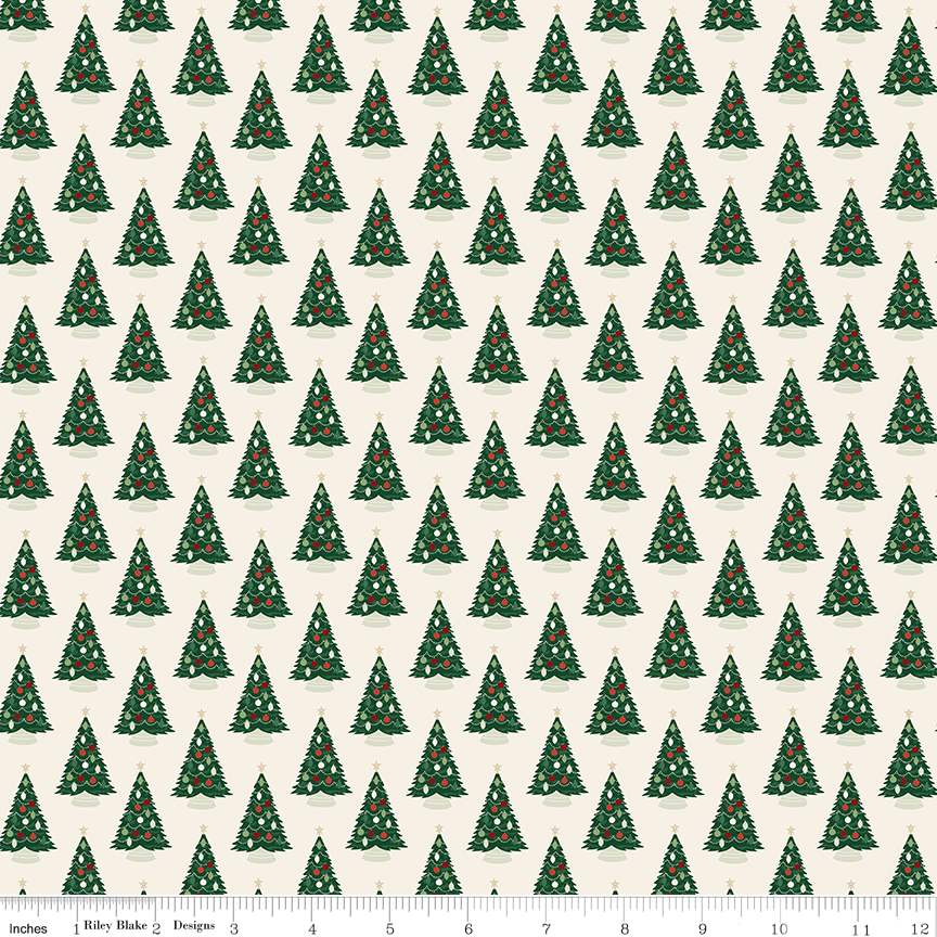 Trees Cream from Christmas Traditions by Dani Mogstad for Riley Blake Designs