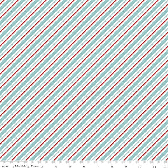 Santa Clause Lane Stripes Bear Lake by Melissa Mortenson for Riley Blake Designs