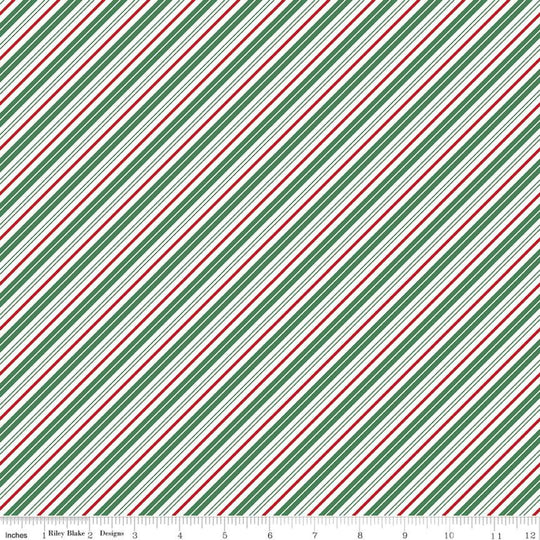 Santa Clause Lane Stripes Green by Melissa Mortenson for Riley Blake Designs
