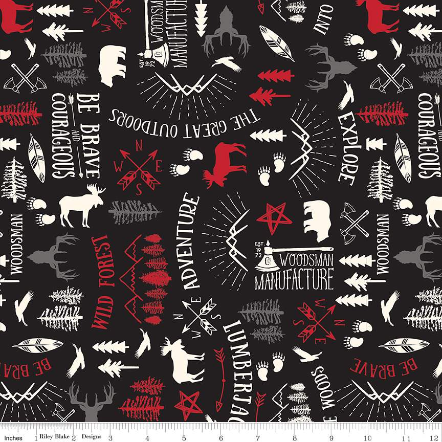 Wild at Heart Main Black by Lori Whitlock for Riley Blake Design