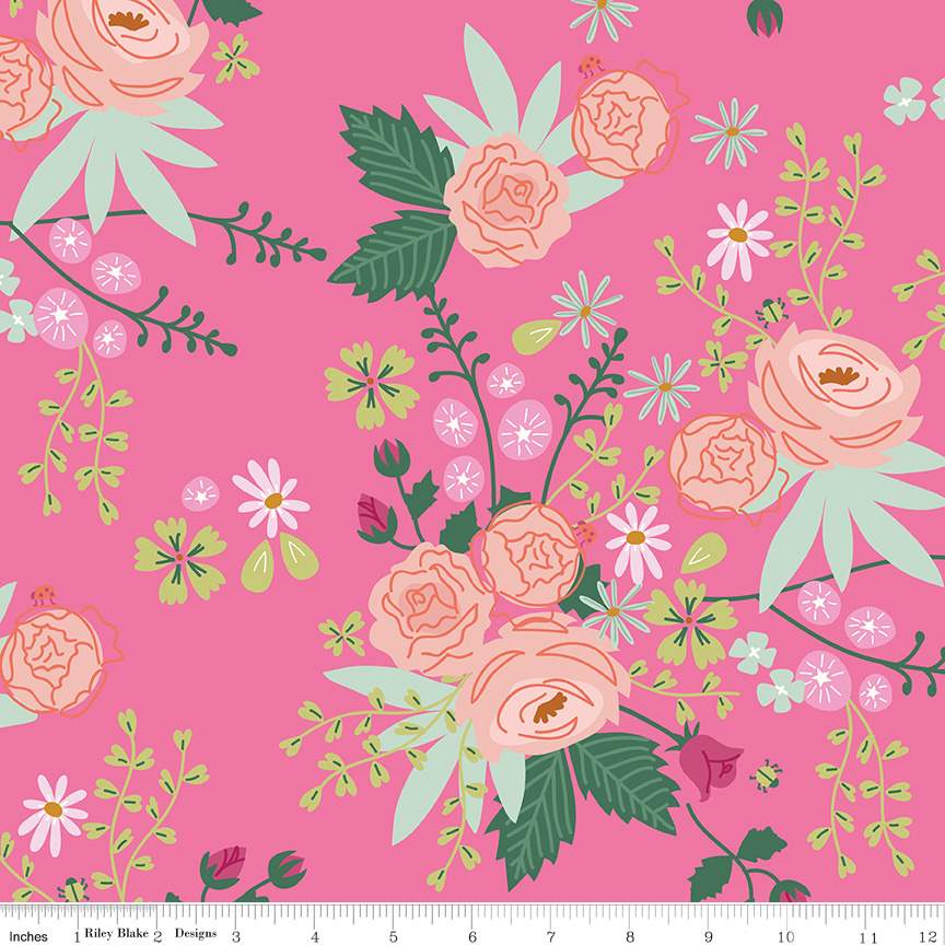 Main Hot Pink from New Dawn by Citrus & Mint Designs for Riley Blake Fabric