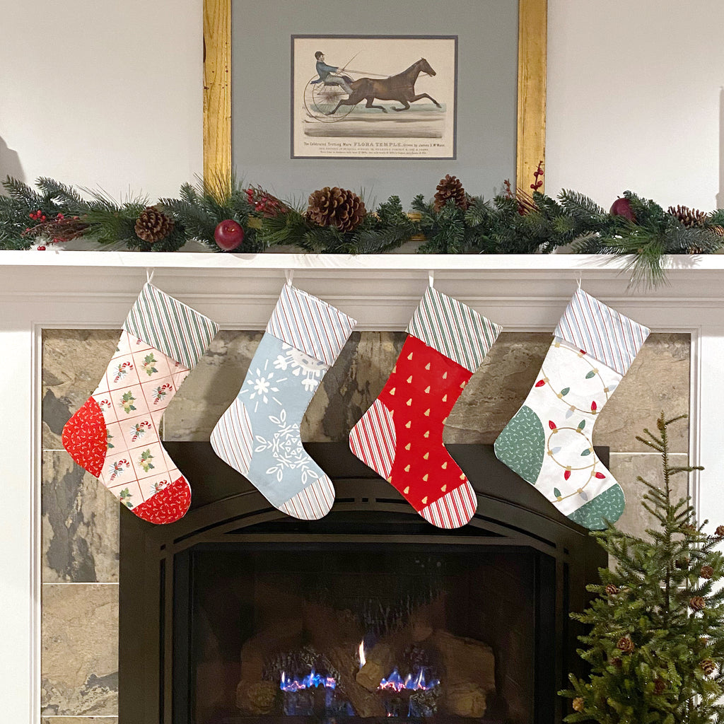 Santa Clause Lane Christmas Stocking Panel by Melissa Mortenson for Riley Blake Designs- Select Your Color
