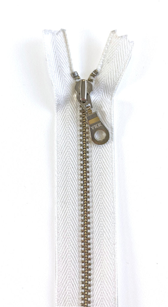 Metal Zipper - Silver Nickle Teeth, Donut Pull, White Tape 22in