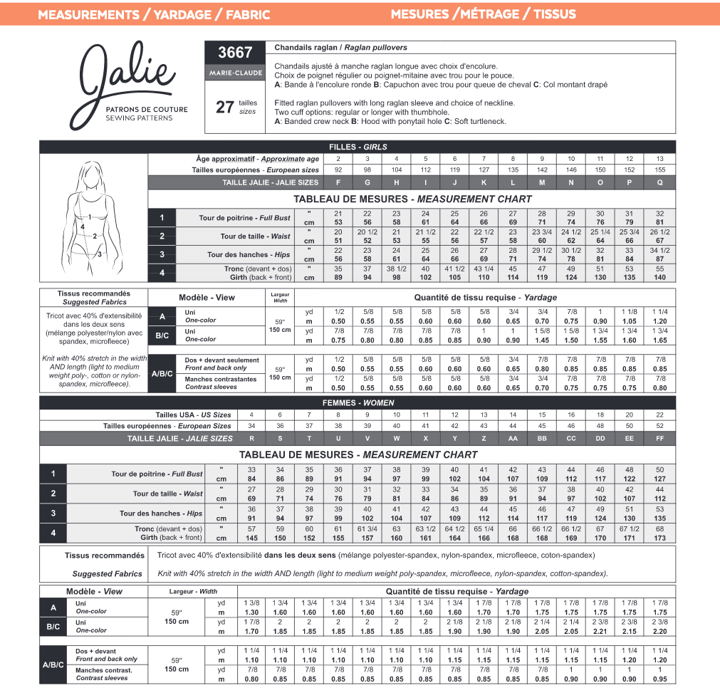 Jalie Patterns MARIE-CLAUDE Raglan Pullovers #3667