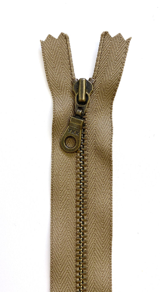 Metal Zipper - Antique Brass Teeth, Donut Pull, Taupe 9in
