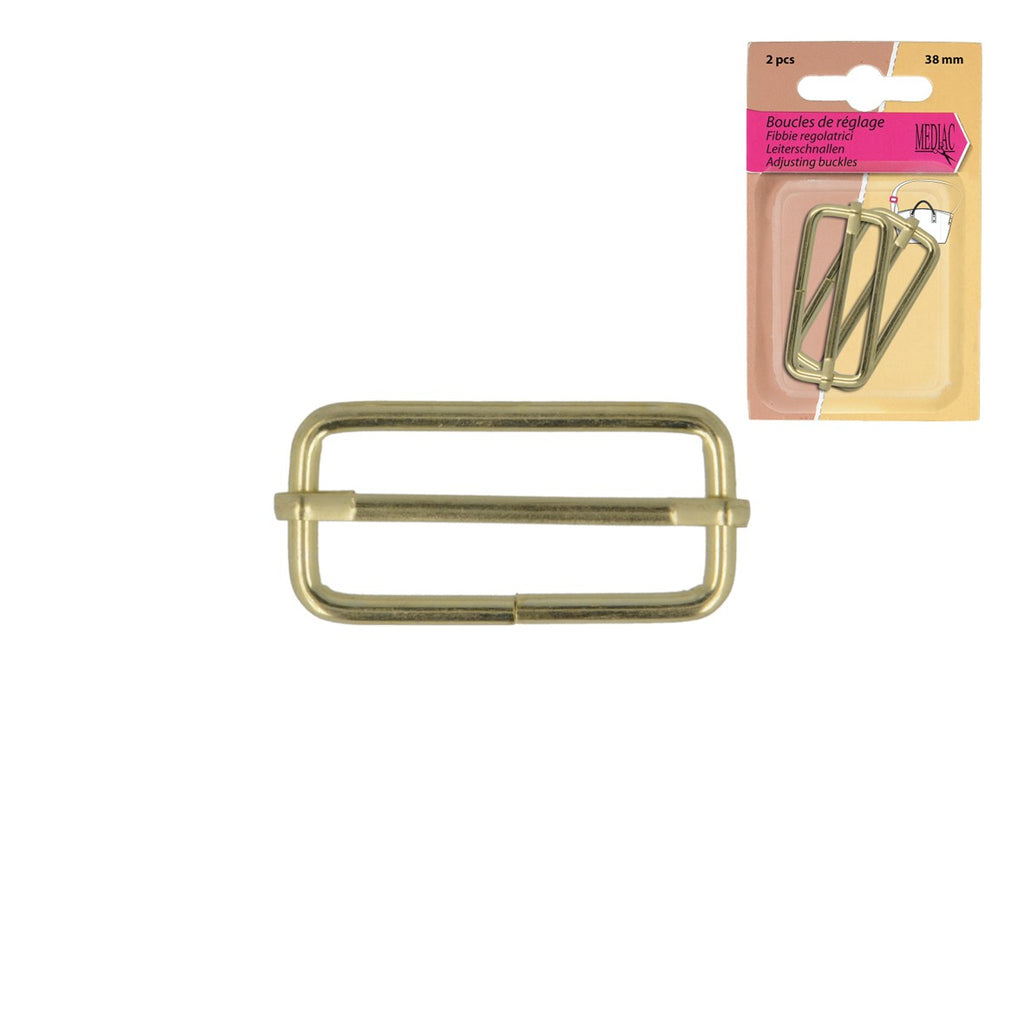 Adjusting Buckles, 38mm, 2pcs/Pk - Gold