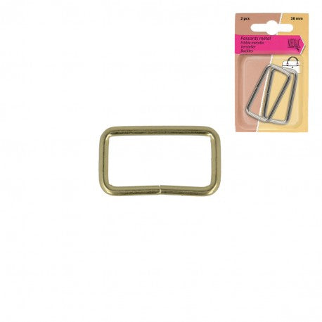 Rectangle Rings, 32mm, 2pcs/Pk - Gold