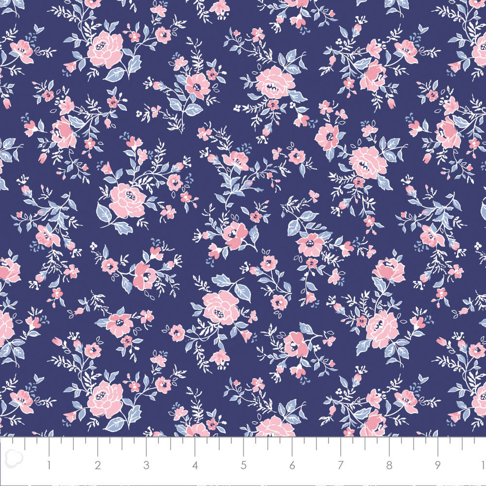 Floral in Blue from Summer Collection by Laura Ashley for Camelot Fabrics