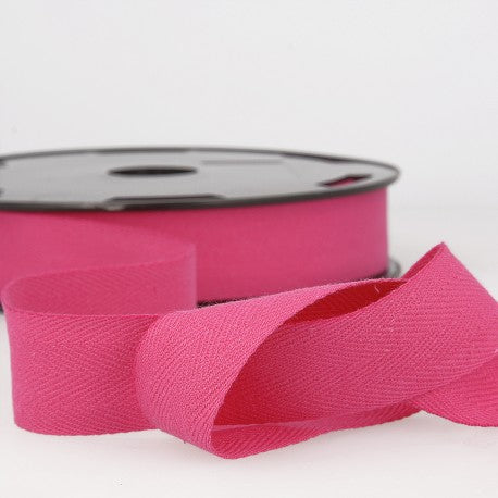 Cotton Twill Tape 35mm - By the Yard - Hot Pink