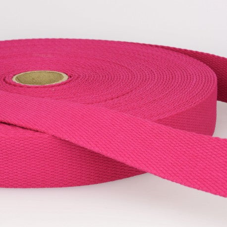 Cotton Canvas Webbing - 25mm Wide - Hot Pink