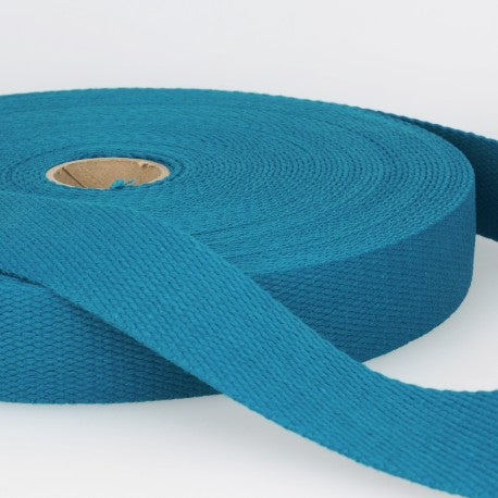 Cotton Canvas Webbing - 25mm Wide - Turquoise