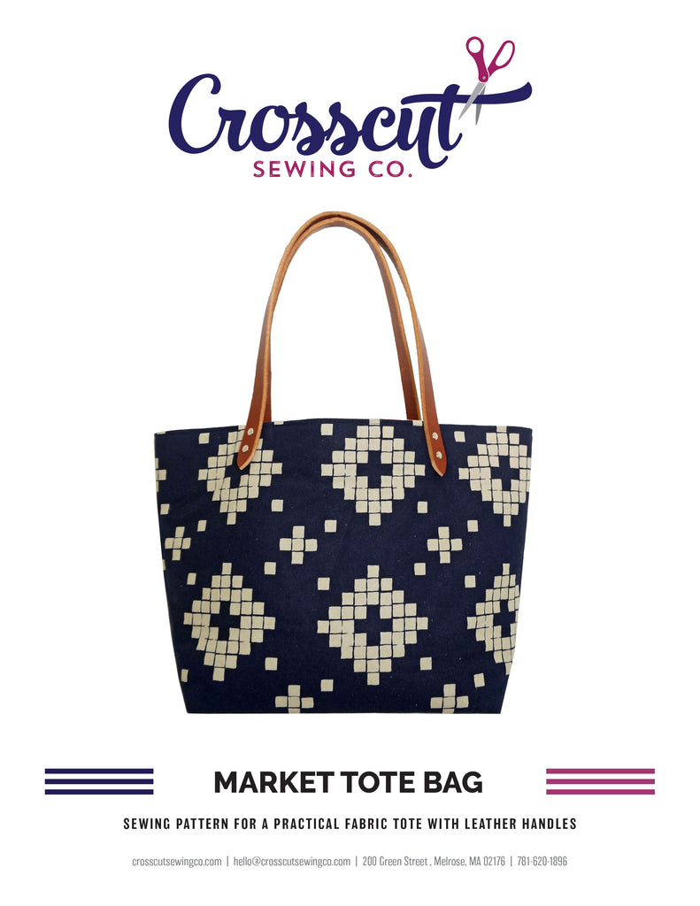 Market Tote Bag Sewing Pattern from Crosscut Sewing Co. - PDF DOWNLOAD