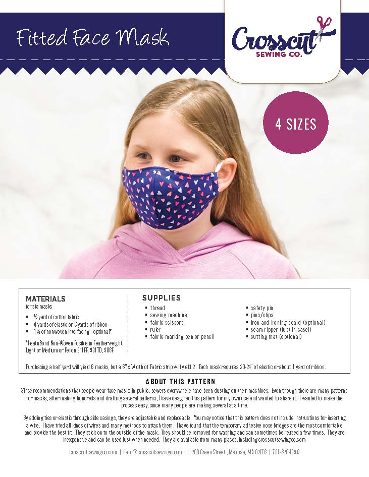 Crosscut Sewing Fitted Face Mask Pattern - PDF Download