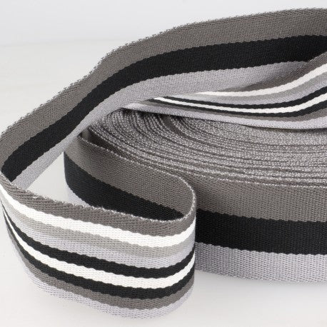 Double-sided Stripes Webbing - 40mm Wide - Gray