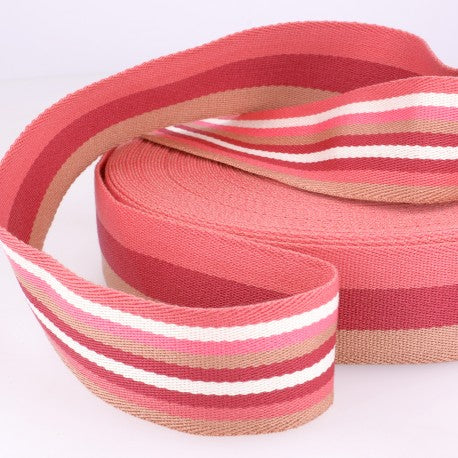 Double-sided Stripes Webbing - 40mm Wide - Pink
