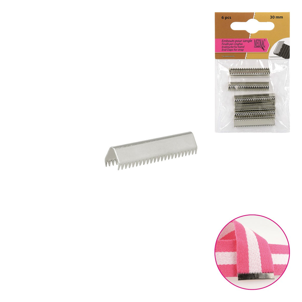 End Clips For Straps, 6pcs per Card, 30mm - Silver
