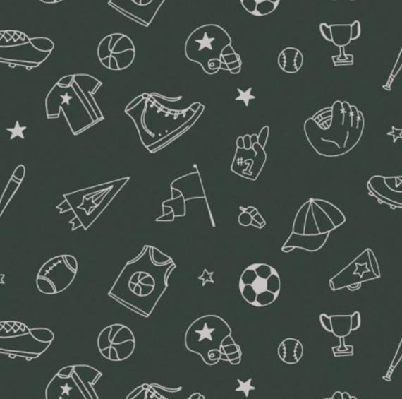 Tossed Equipment Outlines Charcoal from All Star Sports by Heather Roas for Camelot Fabrics