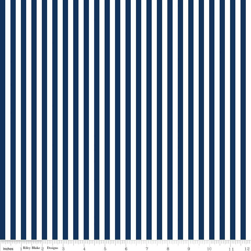 Stripe 1/4 Inch NAVY by Riley Blake Designs