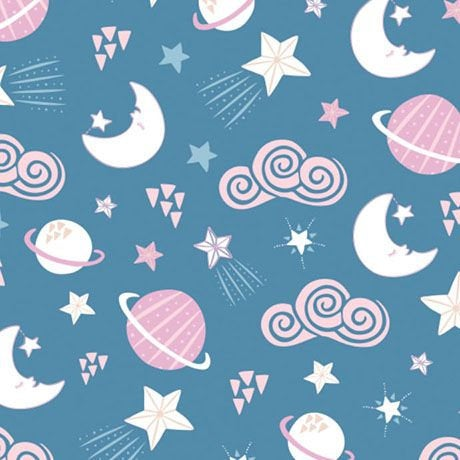 Planets Blue from Celestial Zodiac by Heather Rosas for Camelot Fabrics