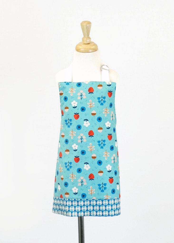 Kids Apron Aqua with Acorns and Strawberries - Girls Apron - Reversible Apron - Children's Apron