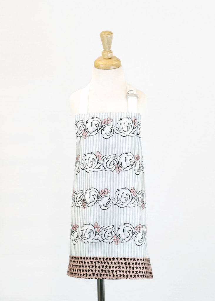 Kids Apron Flourish with Pink Scroll - Girls Apron - Reversible Apron - Children's Apron