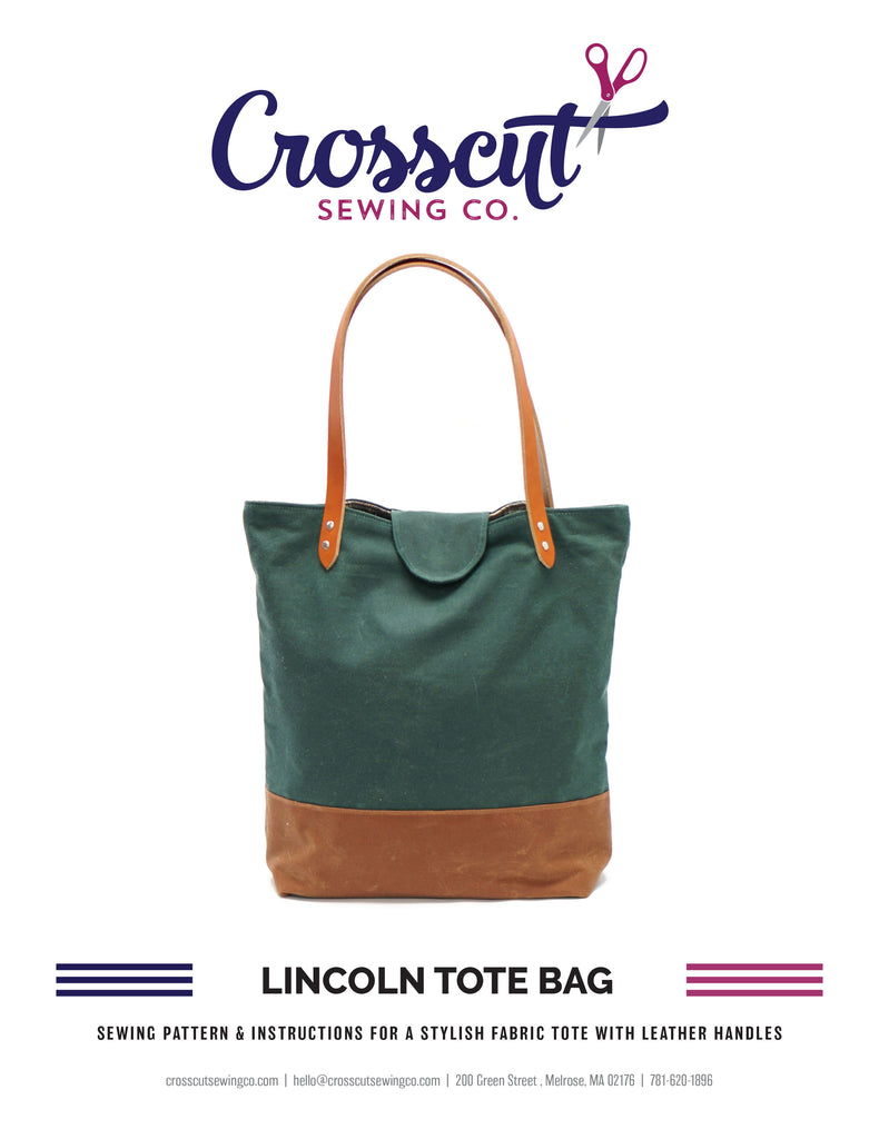 Lincoln Tote Bag Sewing Pattern from Crosscut Sewing Co. - PDF DOWNLOAD