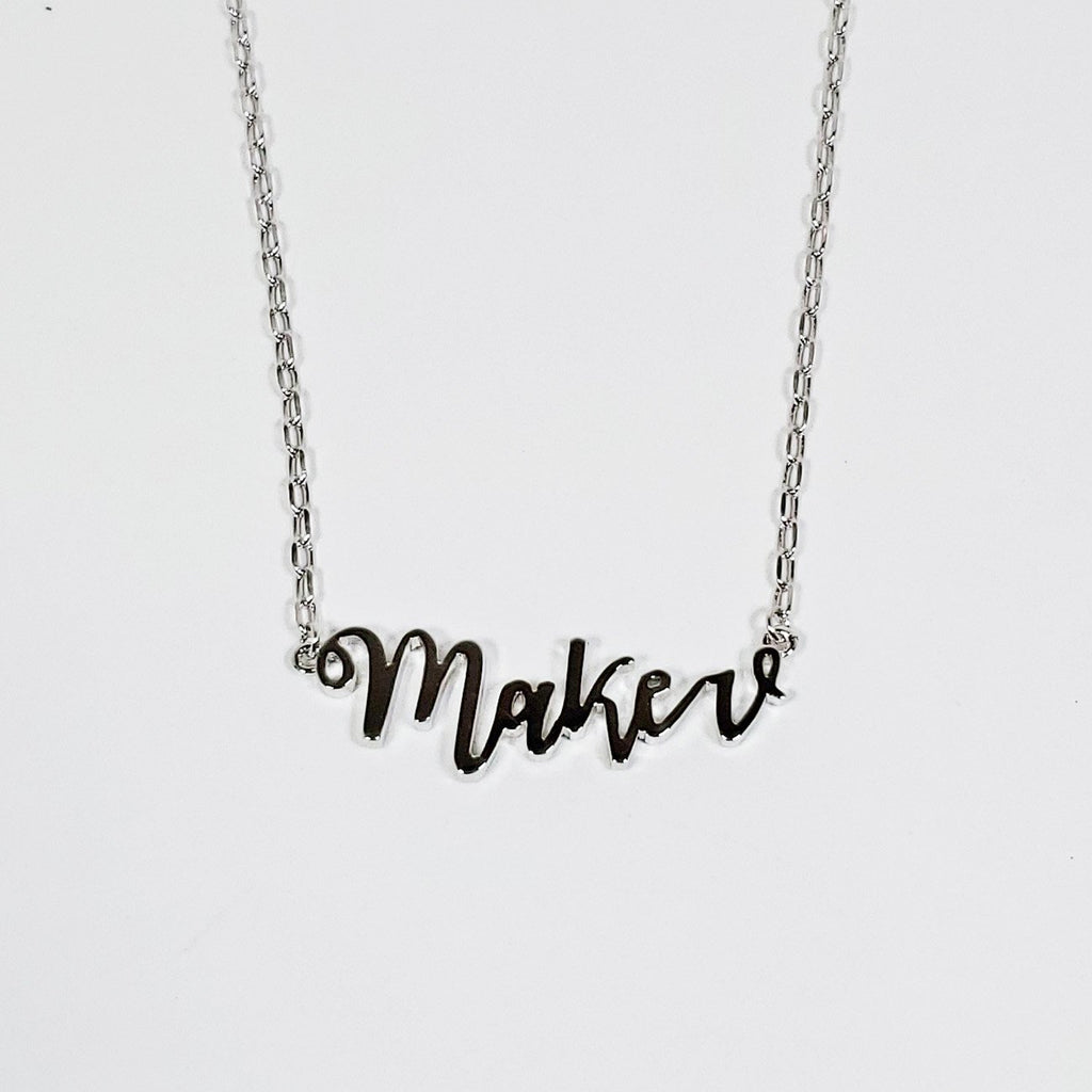 Maker Script Necklace Silver