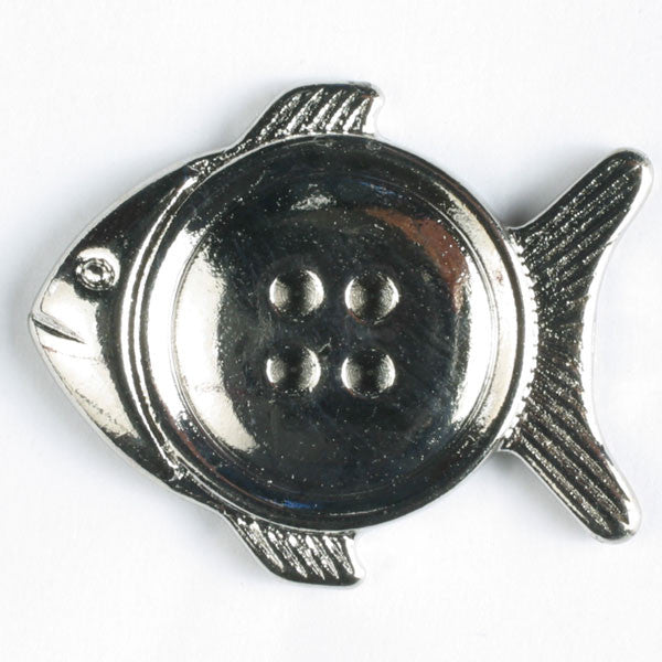 Pisces Fish Full Metal Button - 20mm - Dull Silver