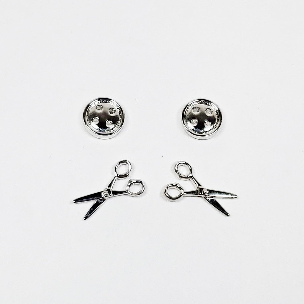 Button and Scissor Post Earring Set of 2 Silver