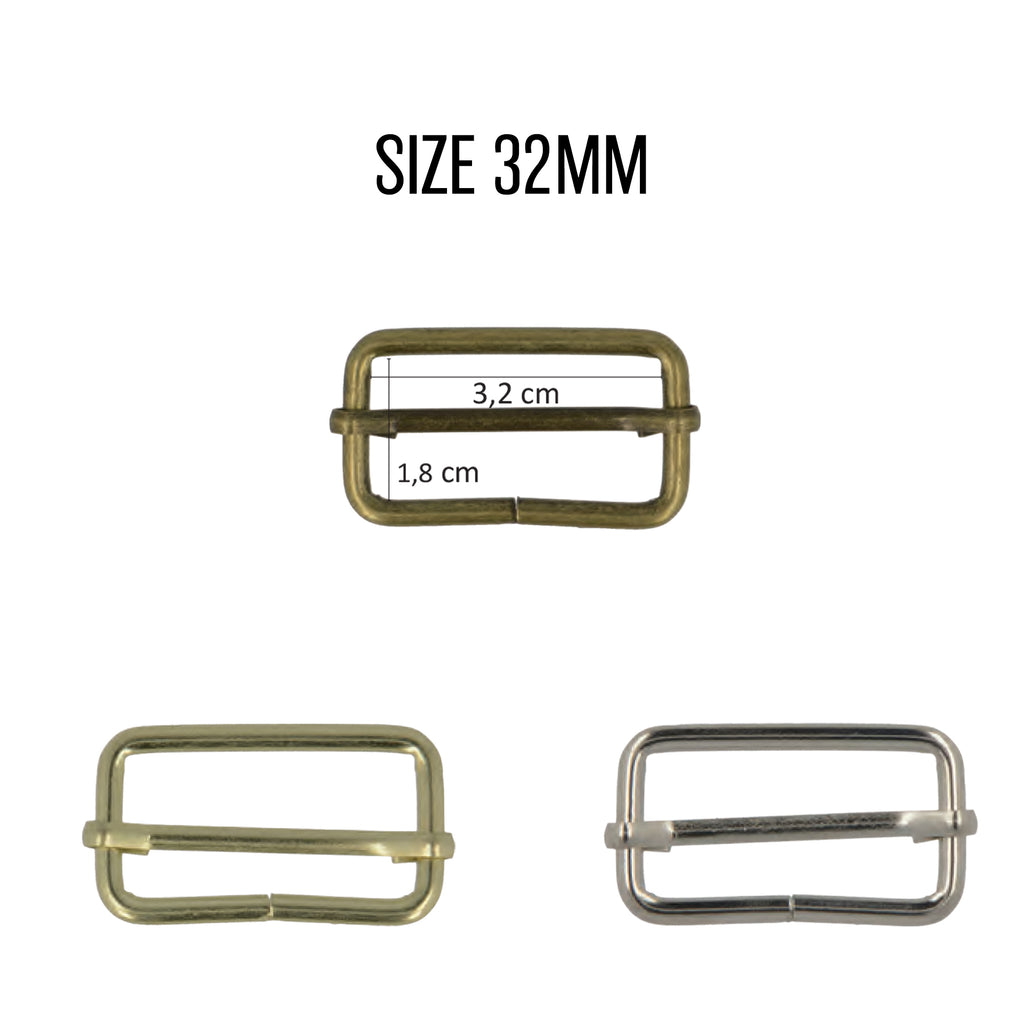 Adjusting Buckles, 32mm, 2pcs/Pk - Silver