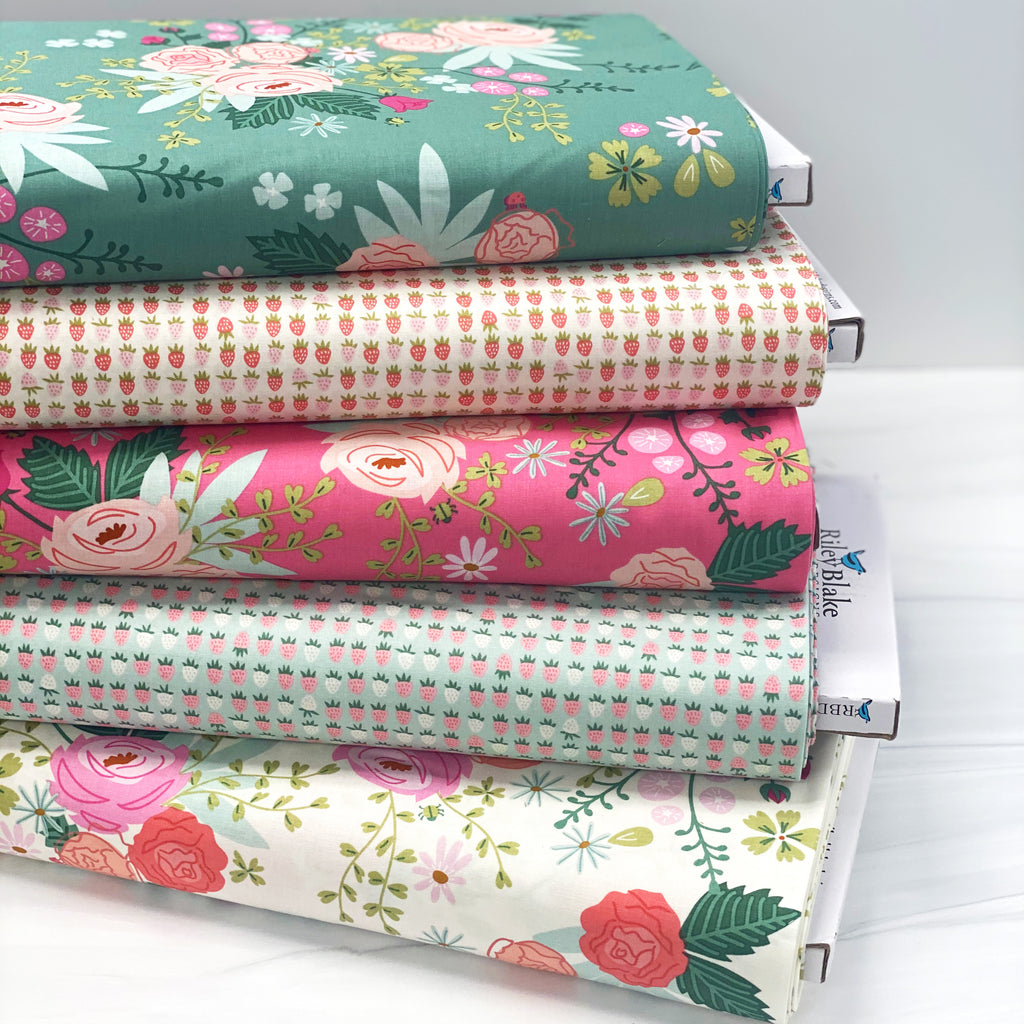 Strawberries Cream from New Dawn by Citrus & Mint Designs for Riley Blake Fabric