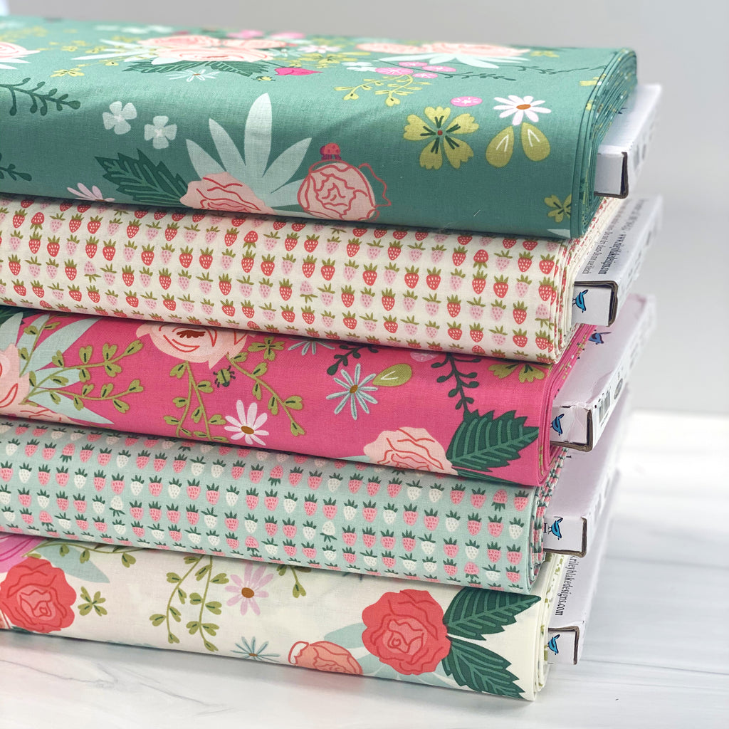 Strawberries Mint from New Dawn by Citrus & Mint Designs for Riley Blake Fabric