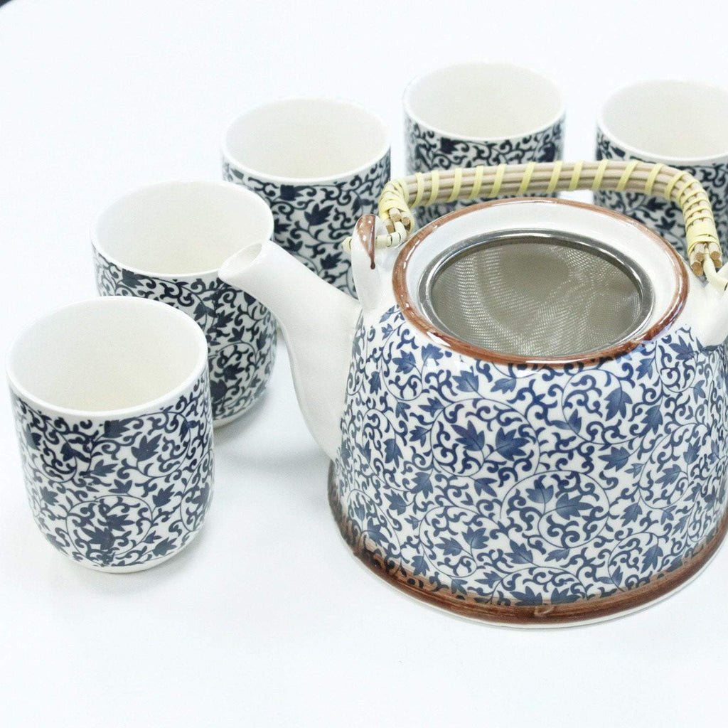 Herbal Tea Pot With Infuser Set Blue Leaf - I Spy A Simple Life