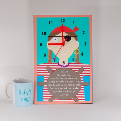 Childs pirate themed clock and mug