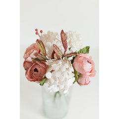 Posy and Pot Pink and White Hand Tied Paper flower Bouquet in Glass Vase