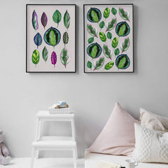 2 watercolour Giclee art print of Colourful Leaves on a white wall. Painted using lovely tones of greens, pinks, greys and blues by Charlotte Hogg Designs