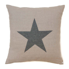Large natural linen cushion with grey appliqué star by sobu handmade