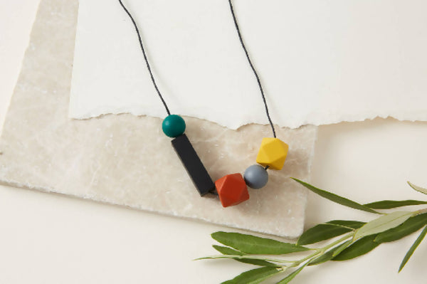 Mustard, Rust Black & Green Silicone Necklace | Geometric Necklace | Statement Necklace