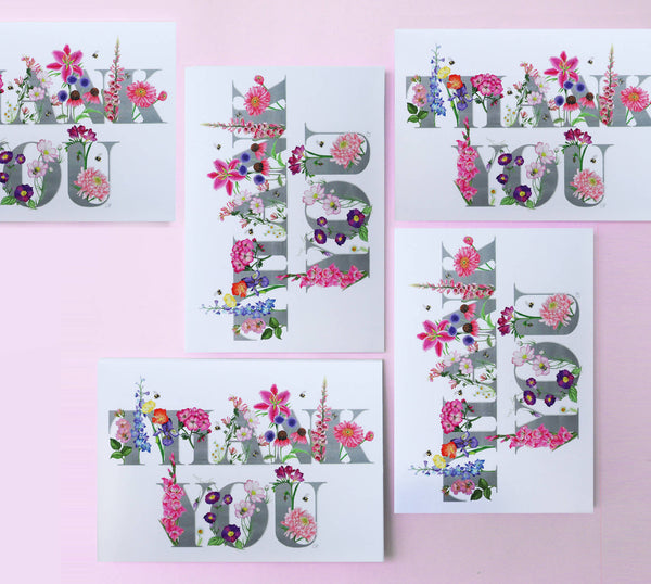 thank you botanical flower themed greeting card