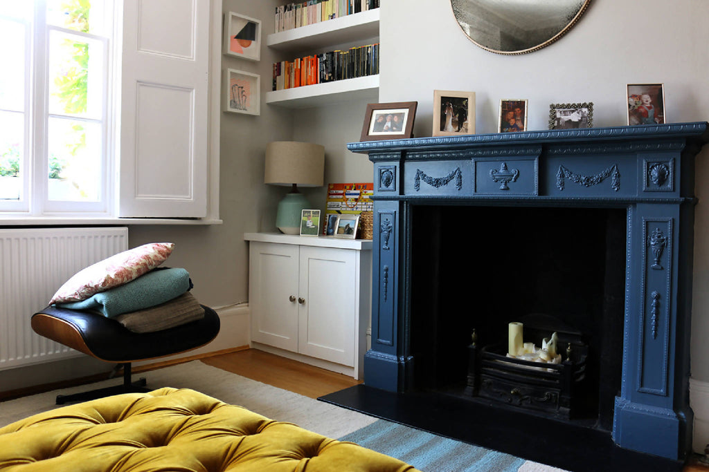 Audrey Whelan interior design living room fireplace example