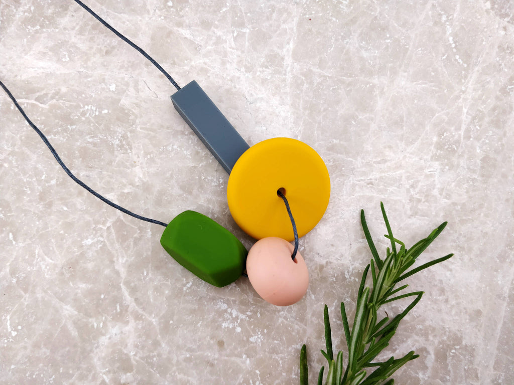 Baby Friendly Silicone Necklace - Mustard Olive green | New Mum Gift | Geometric Necklace