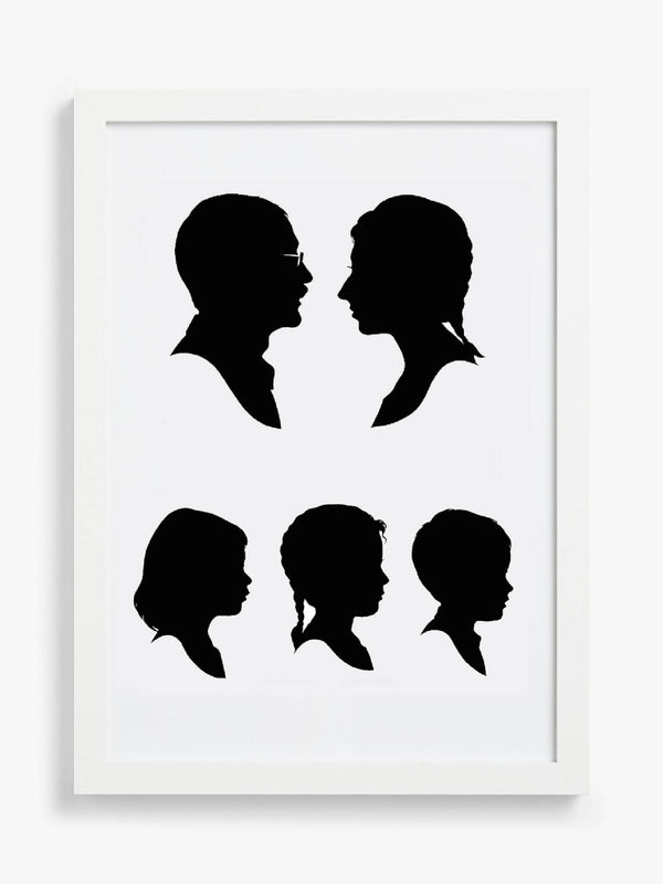 Hand Cut Silhouette Portrait of you and your loved ones (set of five)