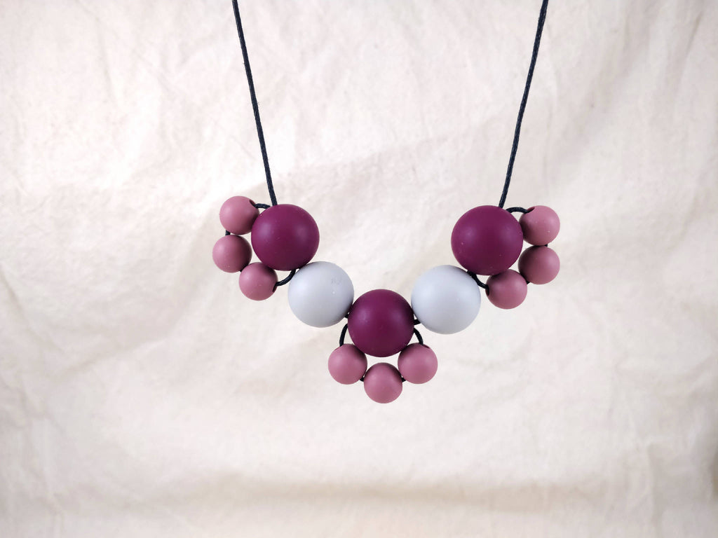 Baby Friendly Silicone Necklace - Burgundy Grey | New Mum Gift | Geometric Necklace