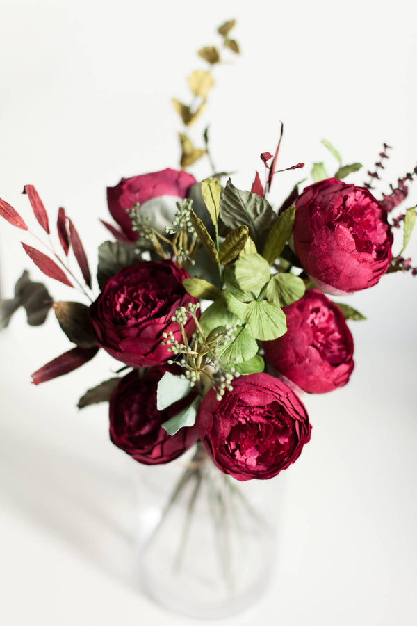 Paper Flower Burgundy Peony Bouquet