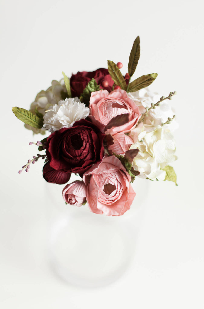Paper Flower Pink & Red Queen Rose Posy