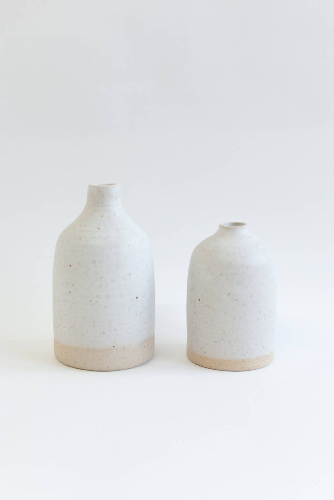 Matt White Bud Vases (Set Of Two)