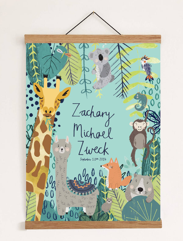 Personalised Jungle Naming Print In Blue