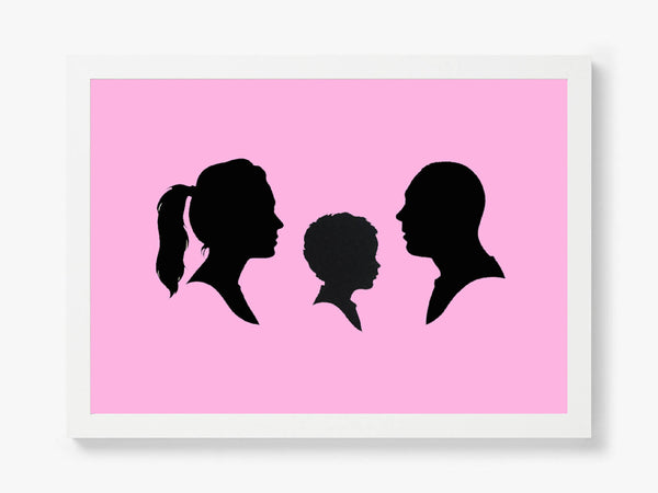 Hand Cut Silhouette Portrait of you and your loved ones (set of three)