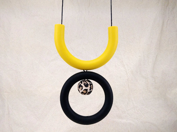 Mustard, Black & Leopard Silicone Necklace | Geometric Necklace | Statement Necklace