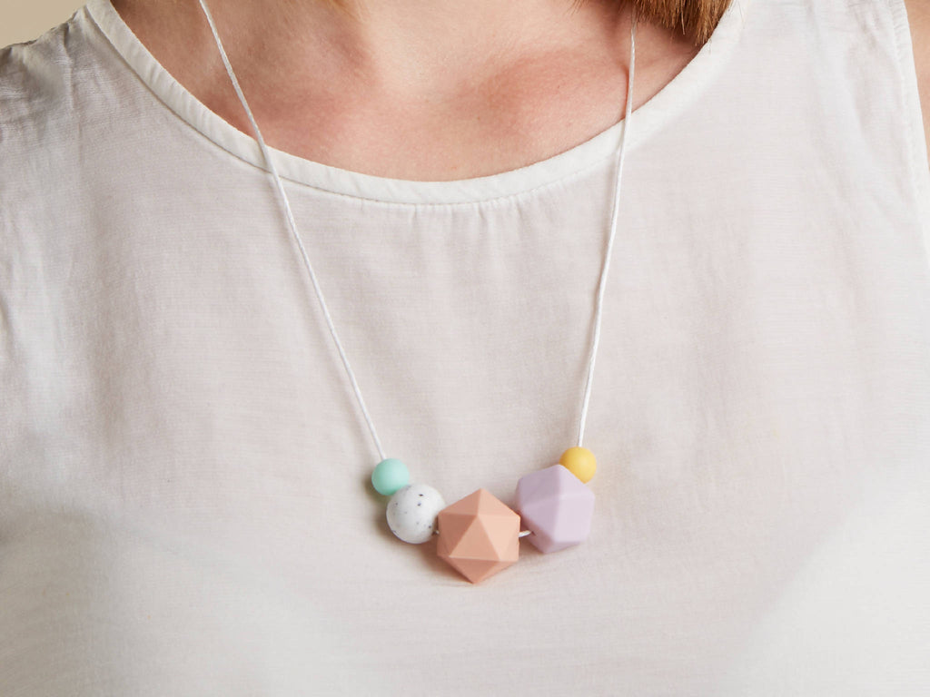 Silicone Baby Friendly Necklace - Mint, Lilac Granite & Peach | New Mum Gift | Geometric Necklace | Baby Shower Gift | Soother | Geometric